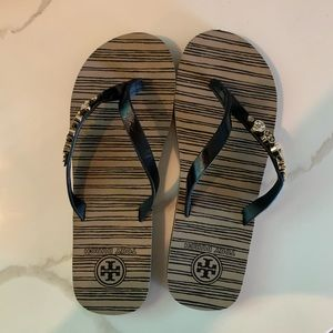 Tory Burch Black and Tan Flip Flops with Charms